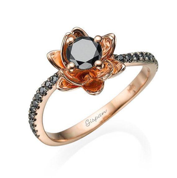 Diamond Three Stone Engagement White Black Engagement Ring Black Diamond Ring Engagement Rose Gold Diamond Ring Engagement