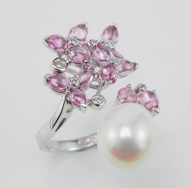 """💍 What does your jewellery say about you?💍  - Say """"I'm FABULOUS!""""  - With our #pinksapphire and #southsea pearl Ring  - - - #myfamilyjeweller #ananiajewellers"""