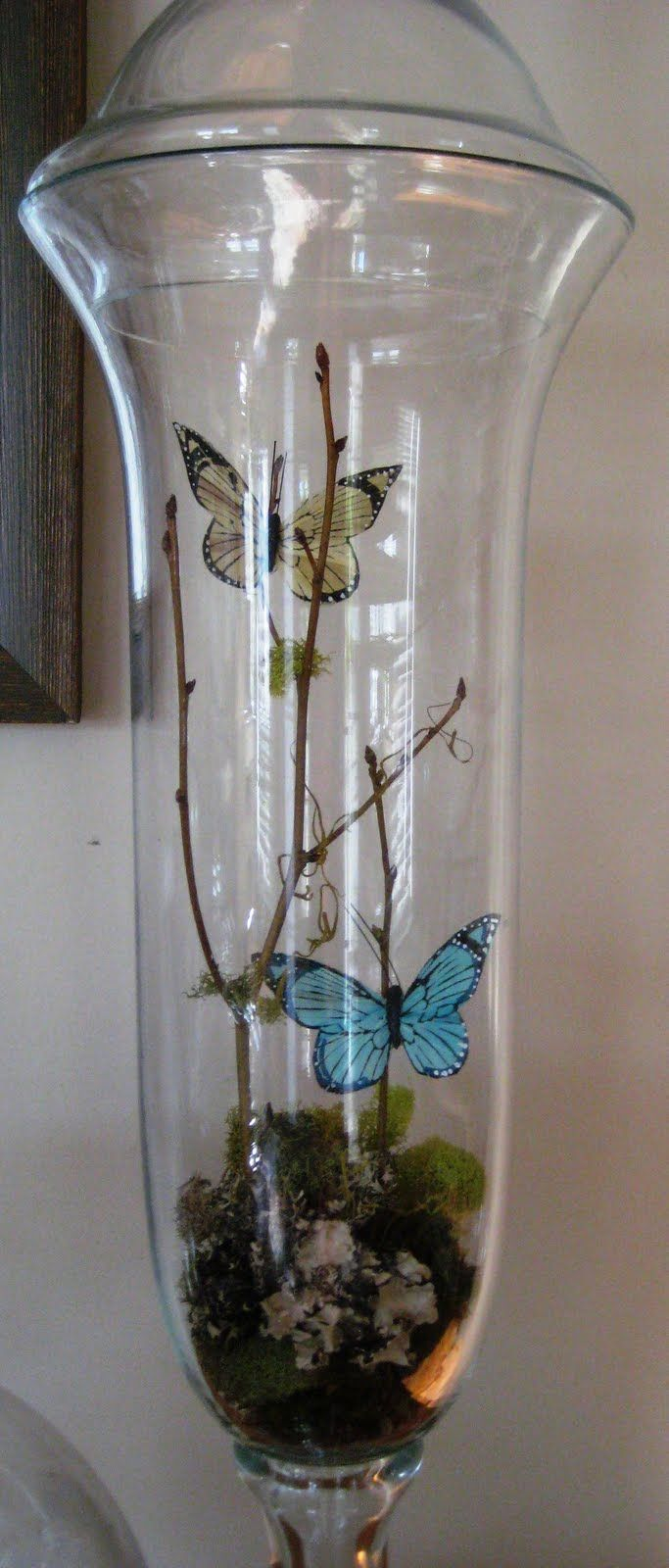 Spring apothecary jar @Amy Lyons Lyons Lyons Woolery I have some moss you can borrow. You could even make the butterflies out of cute scrapbook paper and glue them to some found twigs...