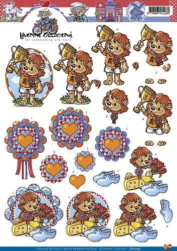 Knutselkraam.nl | 3D A4 Knipvel Card Deco Yvonne Creations - Holland Leeuwen CD10197