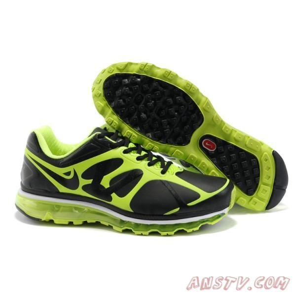 Chaussures Hommes Nike Air Max 2012 Cuirs Noir / Vert Air Max Femme