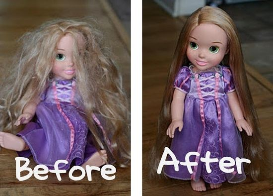 """I will be glad I kept this... Parents of girls, take note.  A small spray bottle with 2 TBSP of fabric softener, the rest water = """"Doll Hairspray."""" Easy method for smoothing and renewing any doll's hair. - Good to know!"""