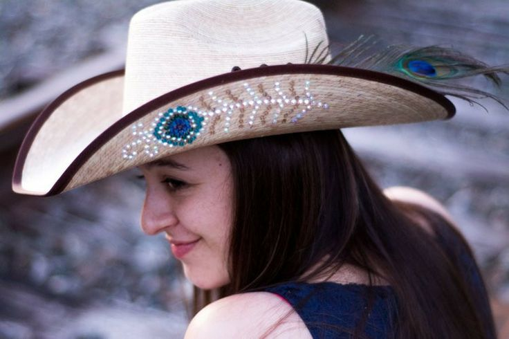 Rhinestone Peacock Feather Straw Cowboy Hat by Sassy Cactus - Photo by Jess (@Jess Husted) and of Jess (@Jess Hess )