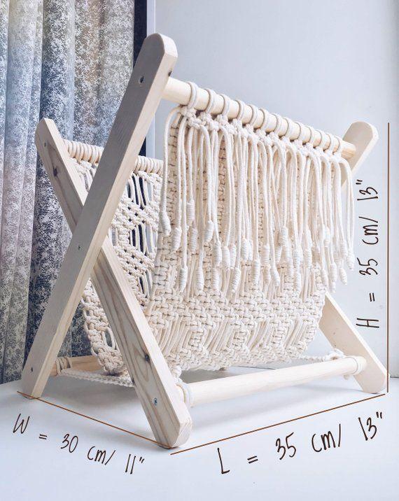 Macrame magazine rack, Rustic home decor, Towel rack, Macrame boho decor, Magazine holder, Boho magazine holder, Christmas gift