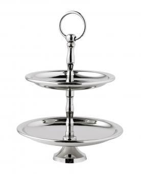 Etagere, Höhe 25 cm - Edle Etagere mit zwei Tellern. Die Teller haben folgende Durchmesser: 18,5 cm und 15,5 cm.Material: Metall