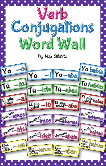Word Wall or Bulletin Board Set with Spanish verb endings for every tense - present tense (-AR, -ER, -IR), preterite tense (-AR, -car/-gar/-zar, regular -ER/-IR, 'y' verbs, stem-changing, and irregular verbs), imperfect tense (-AR, -ER/-IR, irregulars), future tense, conditional tense, present subjunctive (-AR, -ER/-IR), participles, present perfect tense, pluperfect tense, and gerunds