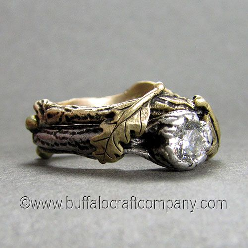 The Burchfield Nature Inspired Wedding Ring Set Cast From 14k White Gold With Addition Of 18k Green Buds And Engagement Bands In