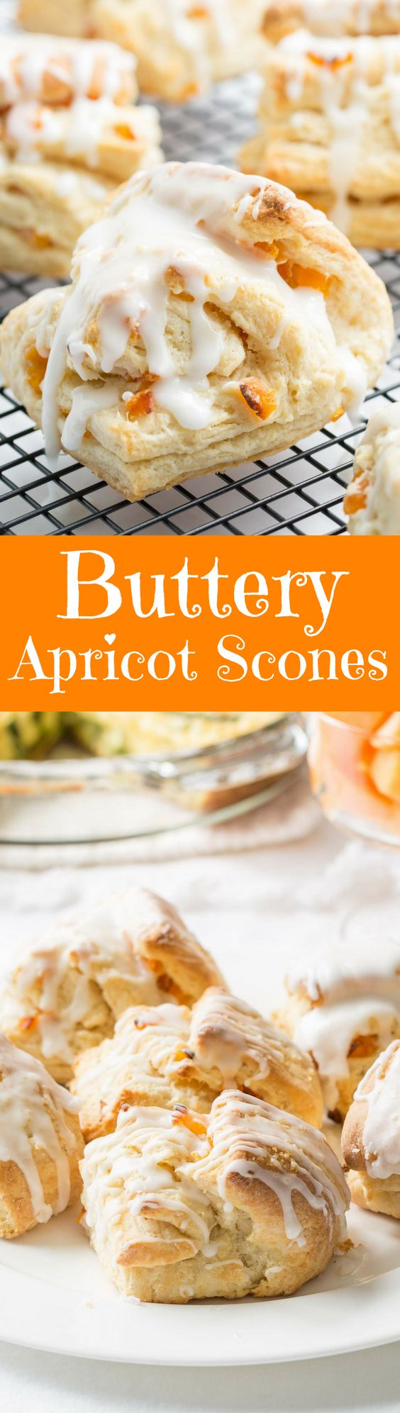 Buttery Apricot Scones ~ A light, flaky, buttery scone layered with chopped apricots and iced with an almond flavored glaze.