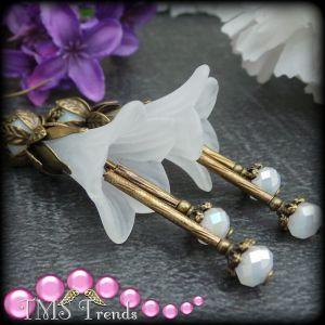 Ohrhänger, Vintage, Petunia Weiß