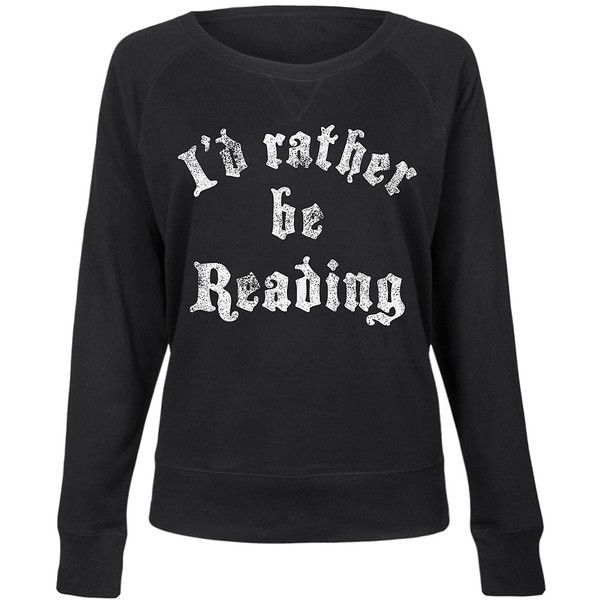 Geek Garb Black 'I'd Rather Be Reading' Slouchy Pullover ($25) ❤ liked on Polyvore featuring tops, plus size, sweater pullover, slouchy tops, plus size pullover, womens plus tops and womens plus size tops