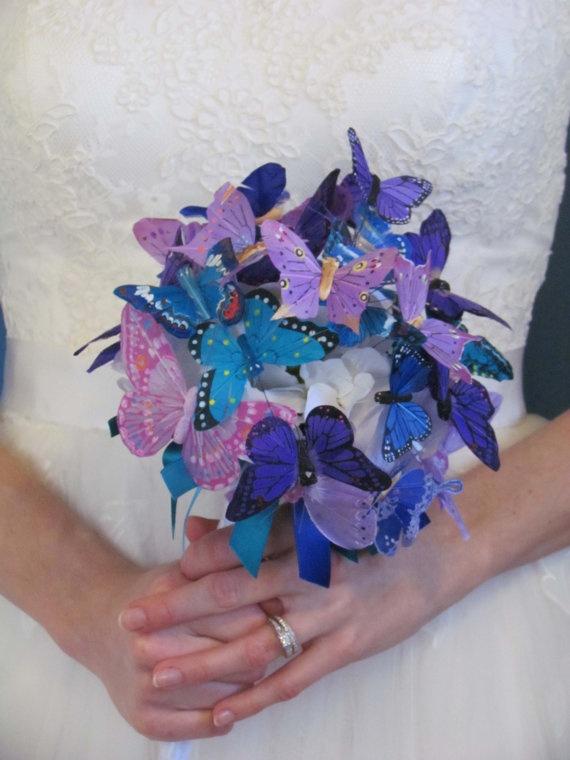 Purple & Blue Butterfly Bouquet by justanns on Etsy, $65.00 (alternative flower girl)