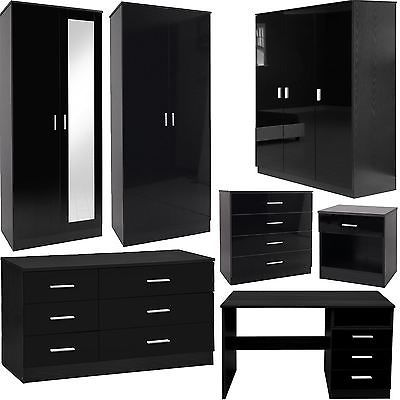 Bedroom furniture 3 piece set black #gloss wardrobe #drawer bedside #chest table,  View more on the LINK: 	http://www.zeppy.io/product/gb/2/231673190917/
