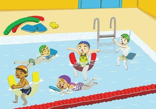 Se pusieron el bañador Están jugando en la piscina Saldrán y se secarán
