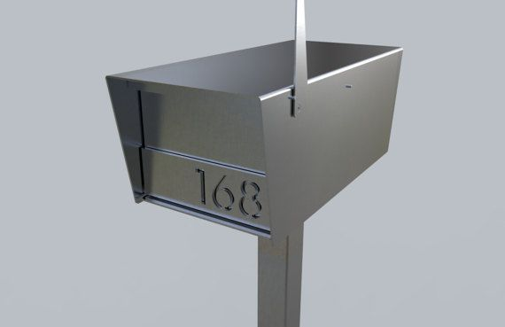 The Goodwood STAINLESS STEEL post mounted mailbox is a large modern Stainless Steel mailbox designed to complement modern and traditional homes. The mailbox is constructed from 12ga Stainless Steel plate throughout. The accompanying address plate is made from 3/16 thick laser cut STAINLESS STEEL. --------------------------------------------------------------------------------------------------------  I offer this mailbox in standard and LOCKING versions! Locking version has an additiona...