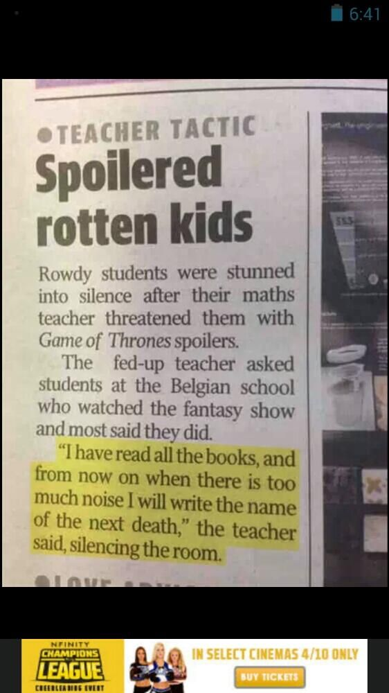 Imagine the one kid in the class who didn't watch it just being glared at from all angles.