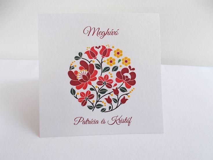 kalocsai mintás esküvői meghívó 09.1