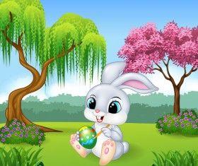 Cartoon easter rabbit cute vector material 01