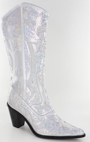 Tall Bling Boots by Helens Heart - Silver Cowgirl Boots
