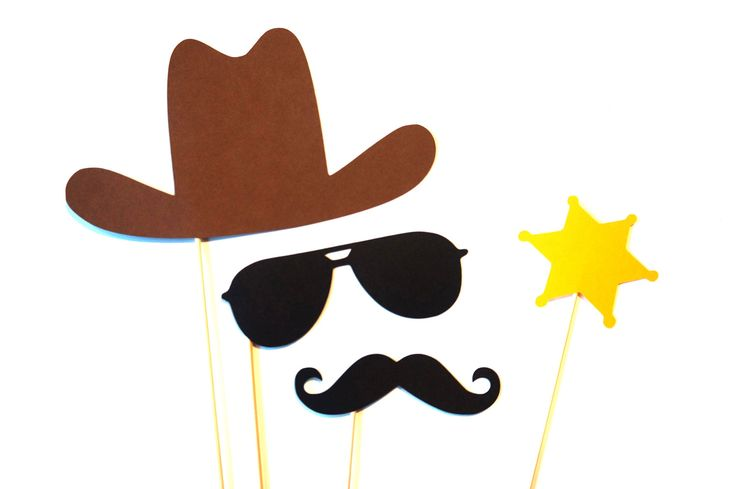 Photo Booth Props - Cowboy Photo Prop Set - 4 piece set - Birthdays, Weddings, Parties - Photobooth Props. $10.00, via Etsy.