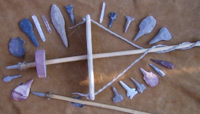 Primitive stone pump drill, the neolithic Drimel tool, by Nehawka Primitive Skills
