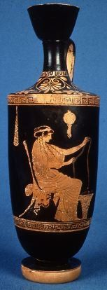 Greek vase, woman spinning