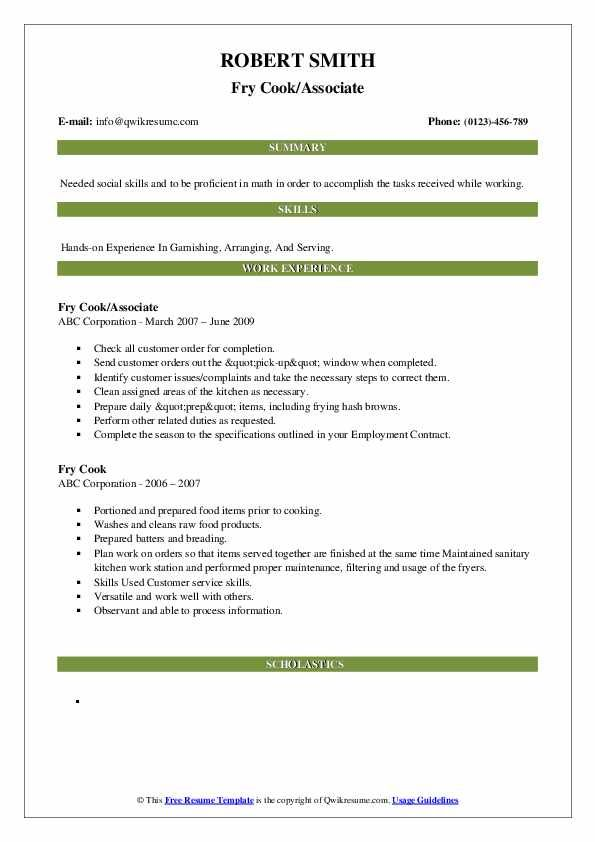 Fry Cook Resume Samples Qwikresume Resume Sample Resume Templates Job Hunting