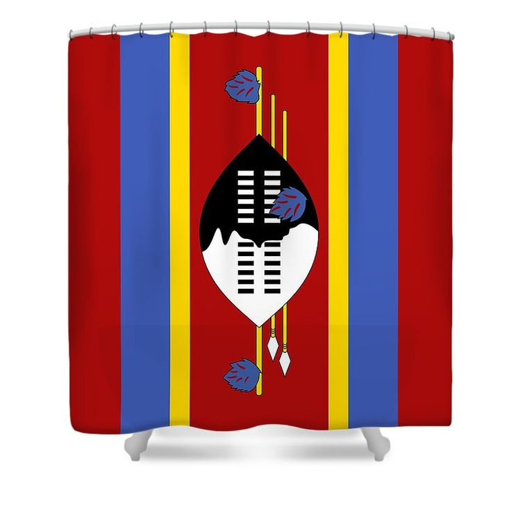 Southern Africa Shower Curtain featuring the mixed media Swaziland Flag 2 by Otis Porritt