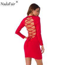 Nadafair O Long Neck Sleeve Backless Lace-up Sexy Bodycon Festa Vestido 2017 Outono Inverno Básico Mini Vestido Preto vermelho Branco