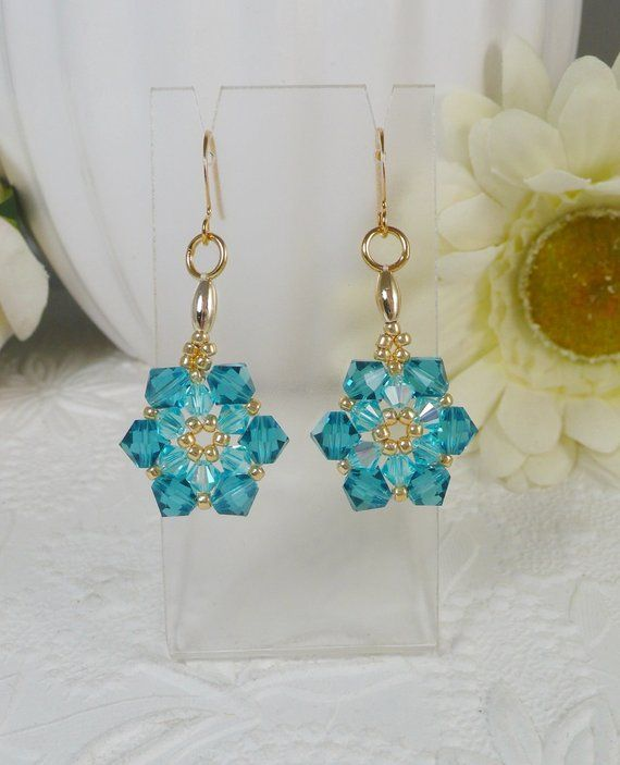 9f4811dfbe5f Woven Flower Earrings Swarovski Crystal in Turquoise Gifts for Her ...