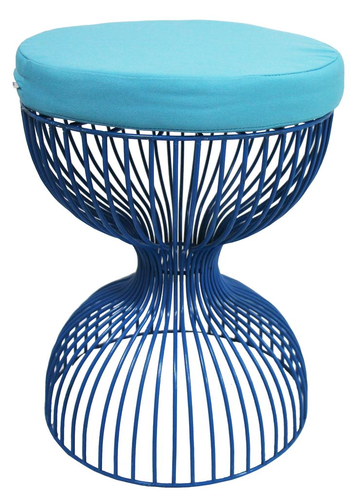 NEW IN: Wire hourglass stool in BLUE - waterproof, including cushions! From $130RRP AUD.   http://www.philbee.com.au/decor/blue-hour-glass-iron-chair-with-cushion.html
