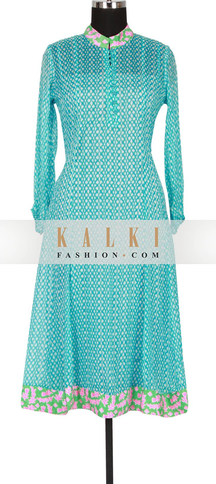 Get this beautiful Unstitched Salwar Kameez Collection http://www.kalkifashion.com/white-and-sky-blue-printed-kurti-featuring-in-georgette-only-on-kalki.html
