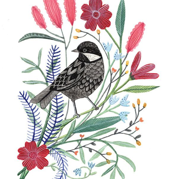 Spring Bird with Flowers Art Print 8x10 by AmeliaHerbertson, $25.00
