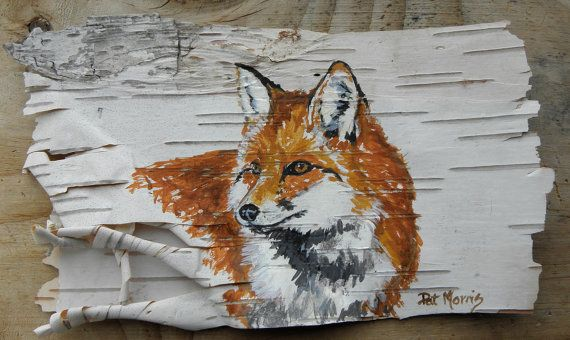 Red Fox Painting on Birch Bark