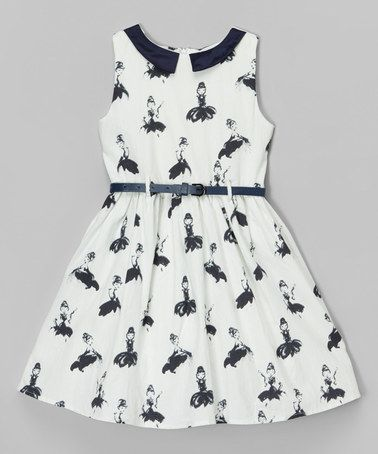 Another great find on #zulily! White & Navy Lady Belted Dress - Toddler & Girls #zulilyfinds