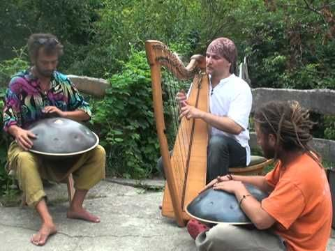 Soothing.. the many styles of music of the hang drums, this one is with a celtic harp