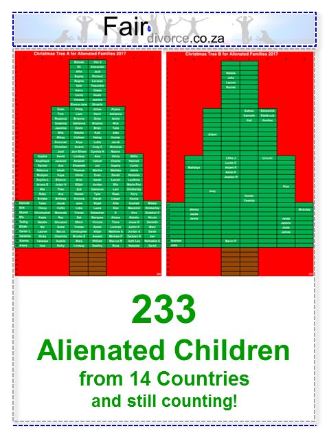 233 Children on Christmas Trees for Alienated Families, Parental Alienation, Children of Divorce, Children's Rights, Fair Divorce, Divorce Mentor, Sinta Ebersohn