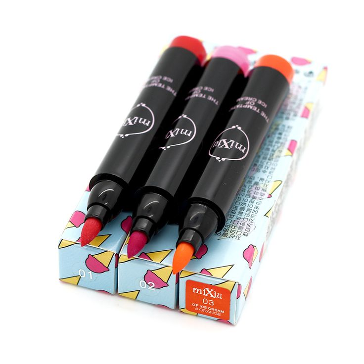 MiXiu Brand Water Color Pen Lipsticks Long-lasting Fluorescent Lip Stick Sexy Makeup Lady Beauty Waterproof Lip Pencil 3 Colors