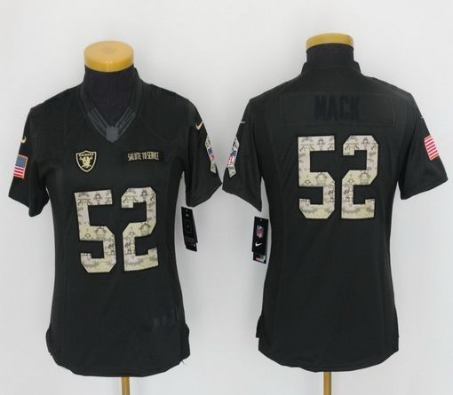 Women Nike NFL Oakland Raiders #52 Khalil Mack 2016 Salute to Service Limited Jersey