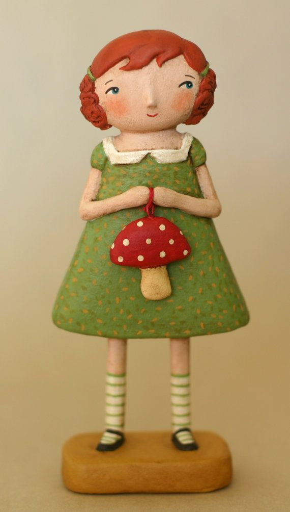 Reserved for luvmythicalcreatures Girl with a Mushroom Paperclay OOAK Art Doll