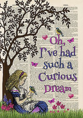 Set of 4 Alice in Wonderland Antique Book page Art Prints A4-Nursery - Childrens