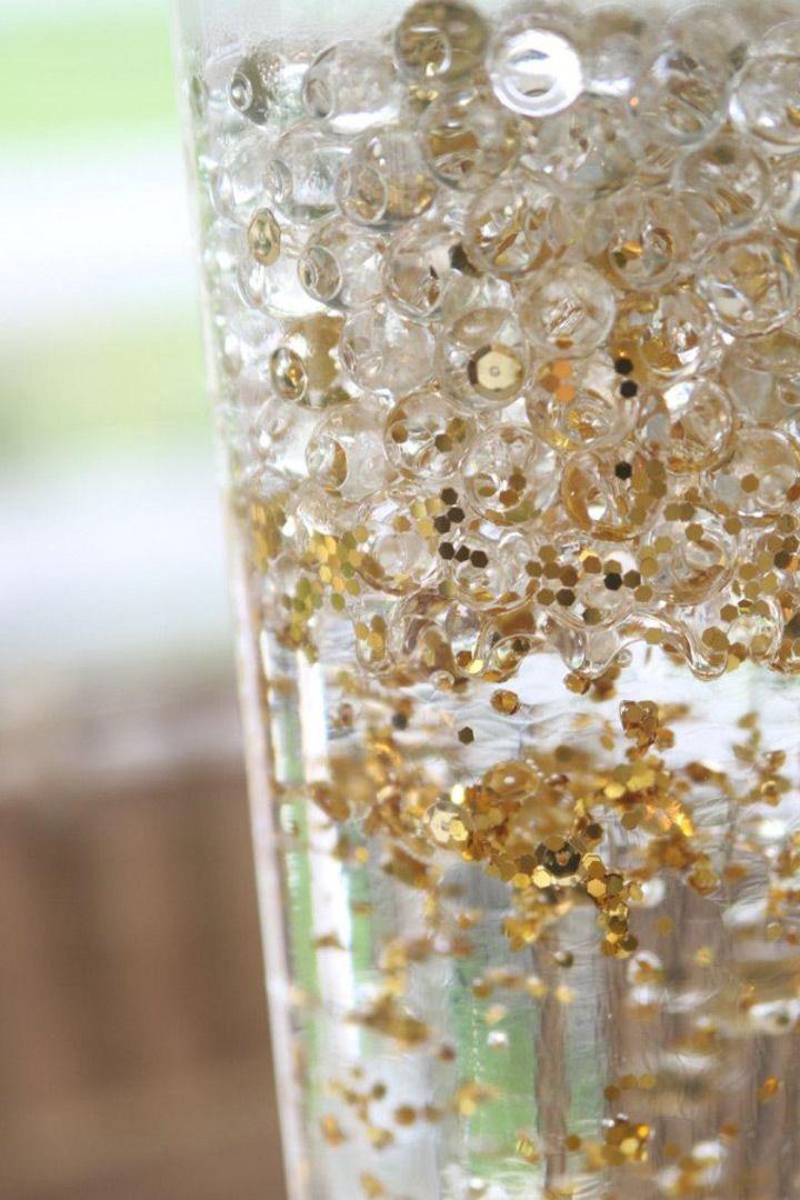 Gold Sequin Wedding Vases That Shimmer Rose Gold Sequin