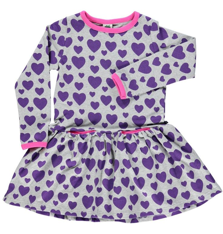 Smafolk Grey and Purple Hearts Dress