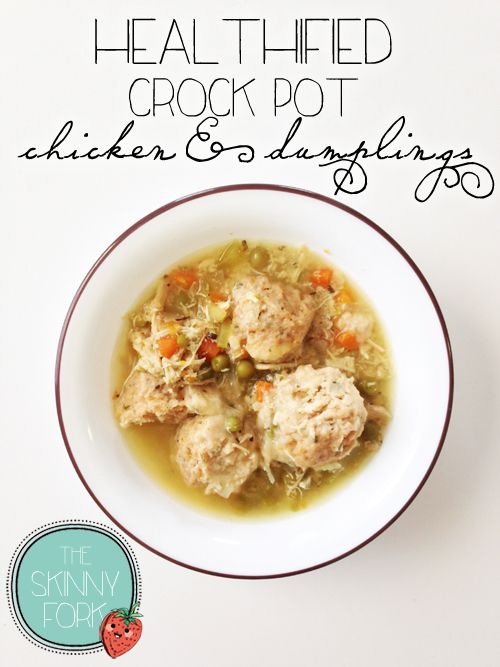 Healthified Crock Pot Chicken and Dumplings - Under 300 calories for a full and satisfying bowl of this classic comfort food! No canned biscuits or condensed cream of such-and-such here! Whole wheat dumplings. Clean and lean!