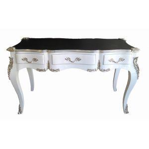 grand bureau baroque de style louis xv 3 tiroirs blanc. Black Bedroom Furniture Sets. Home Design Ideas