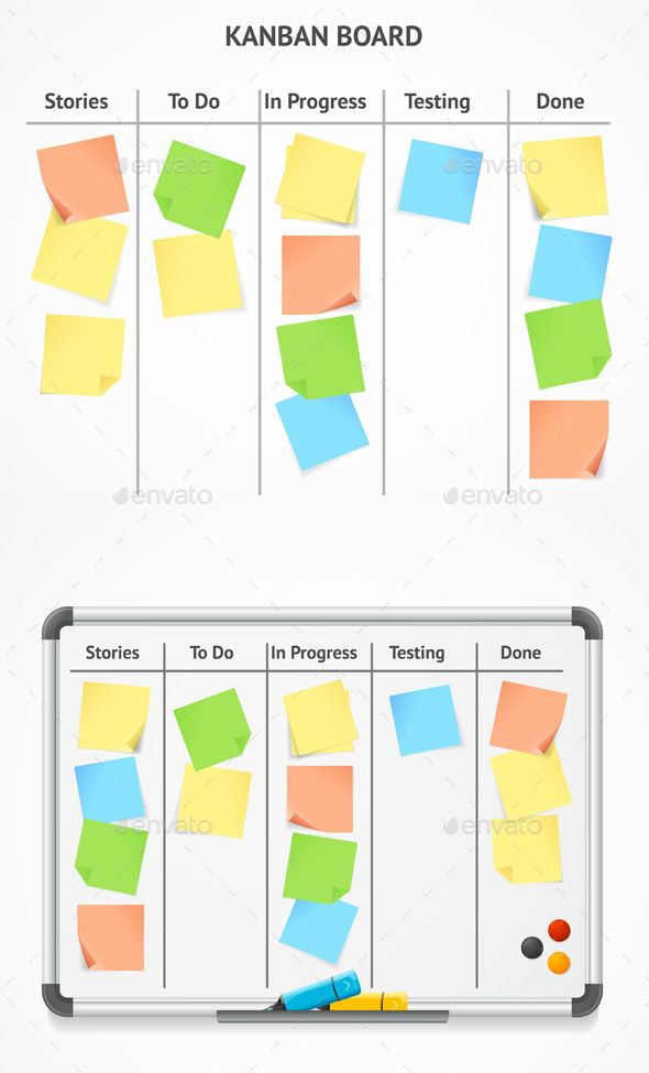 Board With Color Sticky Notes And Markers Graphic Free Download