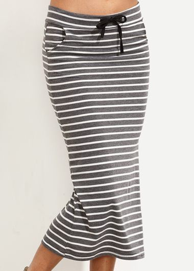The Grey Nautical Striped Midi Skirt featuring charcoal grey and ivory stripe, drawstring elastic waistband, midi length. This skirt is comfortable and is perfect for all shapes and sizes. Complement this look with a cropped tee make a sexy & casual style!