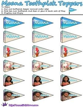 Moana Printable Toothpick Flag by SKGaleana   Free Moana Printable Crafts, Activities and Party Supplies