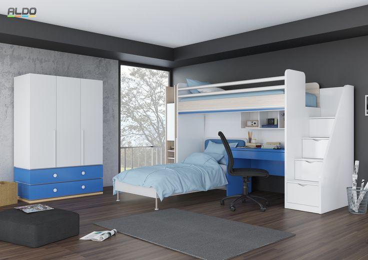 Dětský pokoj s patrovou postelí Flexi - blue