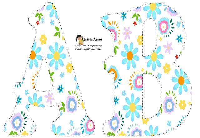 Alfabeto con flores de colores pastel.