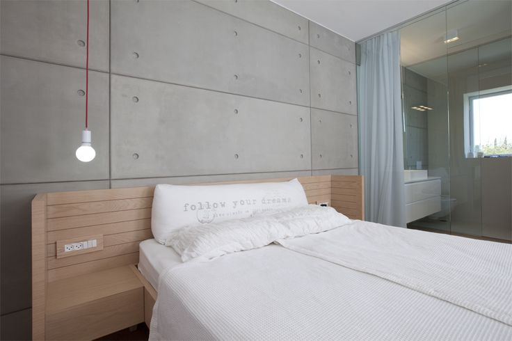 Wall panels on one level, separated by a glass partition between the bedroom and bathroom. Can be applied by any size, color and texture.
